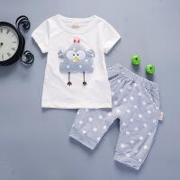 宝宝夏装男0-1-2-3-4岁潮 女童背心套装婴儿童夏天衣服纯棉两件套 白色 斑点鸡