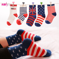 [5双装]内慧 英伦国旗宝宝袜子男女百搭中筒儿童袜小孩棉袜 WZ5080