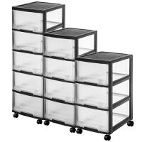 收纳箱塑料抽屉式收纳柜玩具整理箱衣服储物箱透明柜子收纳盒 【透明抽屉柜*不用组装】