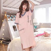 夏季韩版纯棉睡衣女士清新夏天睡裙女学生短袖大码睡裙孕妇家居服