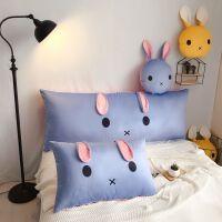 君别韩版小清新卡通可爱长方形靠枕床头大靠垫高支高密水晶绒保暖床上用品 垂耳兔 蓝