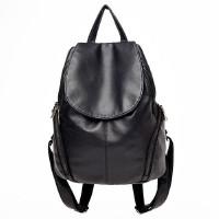 新款真皮质感女士双肩包女韩版书包软皮大容量背包女 黑色
