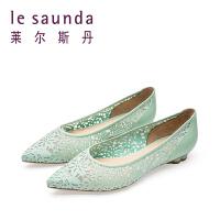 【全场3折】莱尔斯丹 年春夏专柜款尖头休闲镂空低跟女单鞋 9M10320