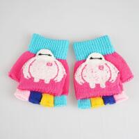 韩版男女儿童半指毛线手套冬季加厚保暖可爱卡通针织翻盖手套冬天