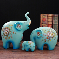 美式大象摆件欧式创意陶瓷小象装饰品电视柜客厅风水软装礼品 湖蓝 陶瓷三只象