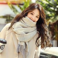 韩版学生加厚保暖可爱少女心ins披肩两用冬天格子围巾女秋冬长方形围巾