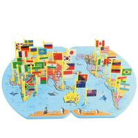 木质插世界地图拼图儿童玩具3-6周岁7岁智女宝宝男孩子