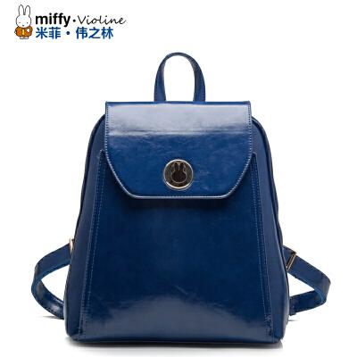Miffy米菲 2016新款 时尚潮双肩包 韩版休闲纯色PU皮双肩背包书包学院风