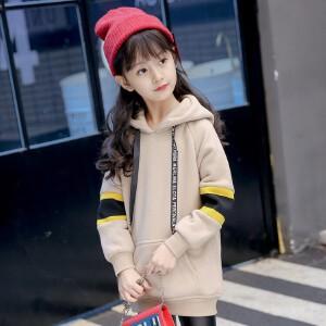 【满200-100】百槿 冬季女童连帽加厚加绒织带卫衣