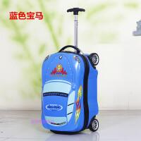 汽车儿童拉杆箱大黄蜂小学生行李箱小男孩卡通登机旅行箱18寸 蓝色 宝马汽车