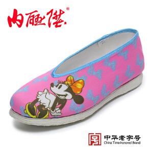 内联升女鞋手工千层底时尚粉色【迪士尼米妮】老北京布鞋 8252A