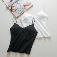 少女性感白色防抹胸长款带胸垫裹胸内衣打底吊带运动背心文胸