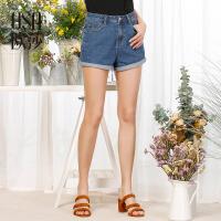 欧莎2017夏季新款女装简约蓝色百搭休闲牛仔短裤S117B53009