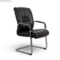 弓形电脑椅子简约办公椅皮艺会议椅班前椅时尚老板椅 黑色 钢制脚