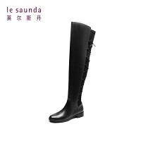 莱尔斯丹 秋冬新款低跟后绑带过膝长筒瘦瘦女靴长靴9T30501