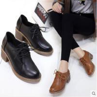 韩版百搭潮粗跟中跟短靴子网红马丁靴女英伦风小皮鞋