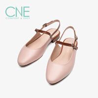 CNE2019夏季新款凉鞋女ins潮晚晚鞋拼色玛丽珍鞋女凉鞋AM15402
