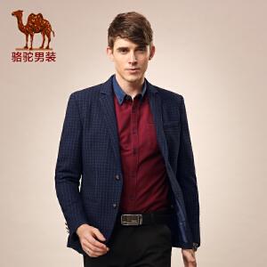 骆驼男装 秋季微弹立体格纹修身西装 商务休闲西服 男士
