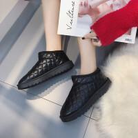 雪地靴女短筒防水pu皮面一脚蹬棉鞋女冬2018新款学生加绒低帮短靴 黑色 黑色
