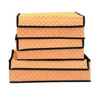 文胸内裤内衣收纳盒有盖三件套多件整理储物收纳箱 橙色圆点衣物内裤袜子文胸整理盒子