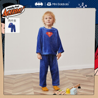 【2件4折�⒖�r:79】DC超人IP迷你巴拉巴拉�和�睡衣套�b2020冬男童����法�m�q睡衣