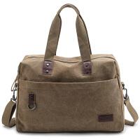 新款新款手提旅行包大容量短途出差行李包复古帆布包男电脑包商务包 中