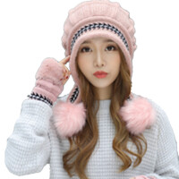 毛线帽子女加厚保暖护耳针织帽半指手套冬季时尚