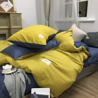 ins简约纯色四件套网红北欧床单被套素色床笠床上精梳棉潮牌双人 黄色 姜黄蓝