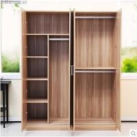 木头衣柜实木质简易板式组合组装胡桃木生态板2门3门4门收纳衣柜