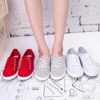 白色帆布鞋女夏2016新款平跟学生韩版小白鞋女士布鞋纯色休闲鞋