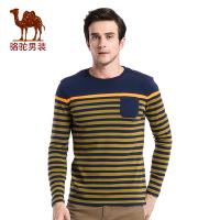骆驼男装 秋季新款时尚撞色条纹圆领长袖T恤衫男青年纯棉T恤
