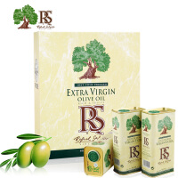 RS牌 特级初榨橄榄油黄色礼盒 500ml铁桶X3桶 西班牙进口 原瓶原装 无糖 食用油 孕妇 儿童