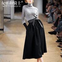女巫2017秋冬装新款欧美时尚气质毛呢针织洋气套装女半身裙两件套