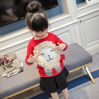 女童毛衣套头春装2018新款韩版儿童宝宝春秋款长袖卡通针织衫上衣 红色