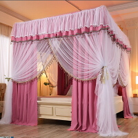 床帘蚊帐遮光家用卧室一体式带支架加密加厚宫廷落地床幔防尘顶布