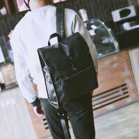 新款韩版男双肩包商务英伦男士背包休闲皮包电脑包学生书包潮男旅行包 黑色