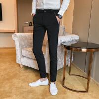 男士英伦商务休闲西裤韩版修身时尚纯色小脚休闲裤