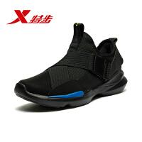特步男鞋运动鞋休闲鞋2019新款官方男运动复古黑色休闲鞋男982419392867