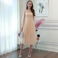 欧洲站女装早春新款吊带裙+灯笼袖网纱蕾丝连衣裙两件套