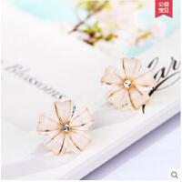 甜美耳环耳饰品 耳夹无耳洞女 大耳环韩国气质琉璃花朵水晶耳钉