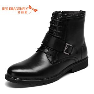 红蜻蜓男鞋 新品系带圆头英伦休闲舒适男靴男棉靴