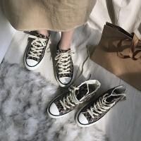豹纹韩版加绒高帮鞋女冬季新款帆布鞋保暖学生二棉鞋女潮