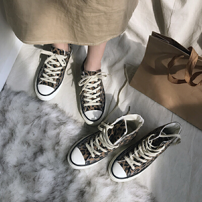 豹纹韩版加绒高帮鞋女冬季新款帆布鞋保暖学生二棉鞋女潮 品质保证 售后无忧 支持礼品卡付款