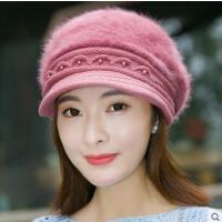 帽子女网红同款时尚韩版兔毛帽 纯色鸭舌贝雷帽保暖针织毛线帽户外运动新品