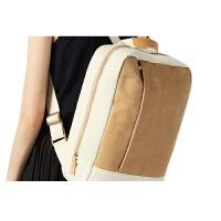 纸帆布双肩包女15.6寸电脑包文艺旅行背包小清新学生书包世帆家SN0703 白色