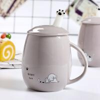 包邮 猫咪带盖勺马克杯学生水杯 创意喵星人卡通陶瓷杯 2017新款