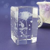 水晶内雕玫瑰花创意生日礼物送女友摆件情人节礼品送老婆圣诞礼物