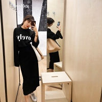春装2018新款时髦女装针织上衣裙子两件套复古温柔风休闲套装女春 黑色 S