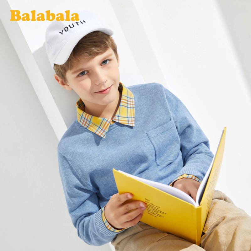 【5.25超品 2件6折价:77.94】巴拉巴拉男童毛衣儿童打底衫2020新款中大童毛衫洋气百搭上衣韩版