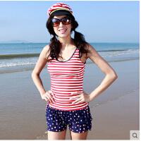 温泉显瘦遮肚条纹平角裙式大码泳装 户外 泳衣女 分体保守小胸